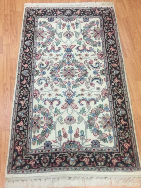 3' x 5' Indian Kashan Oriental Rug - Hand Made - Full Pile - 100% Wool