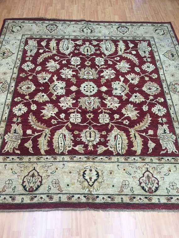 "8' x 8'4"" Pakistani Peshawar Oriental Rug - Square - Hand Made - Vegetable Dye - 100% Wool"