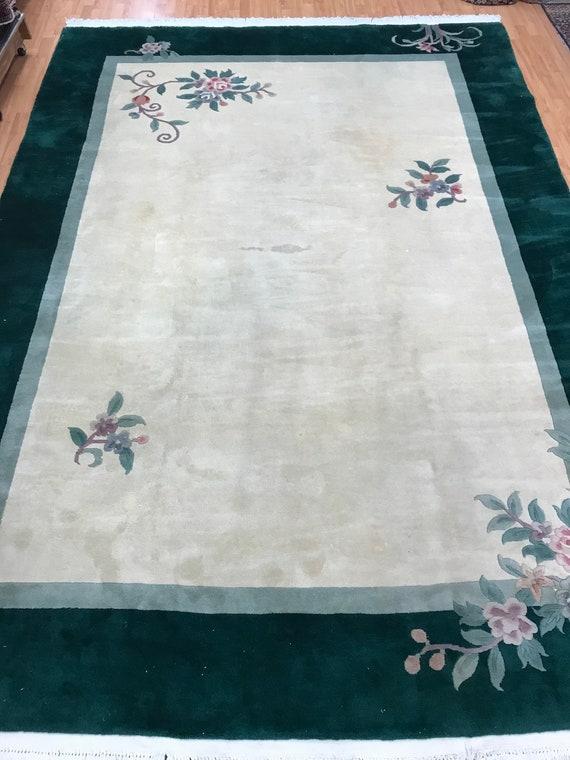 "8'3"" x 11'6"" Chinese Art Deco Oriental Rug - Hand Made - Full Pile - 100% Wool"