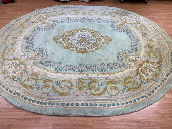 """8'3"""" x 10' Oval Chinese Aubusson Oriental Rug - Full Pile - Hand Made - 100% Wool"""
