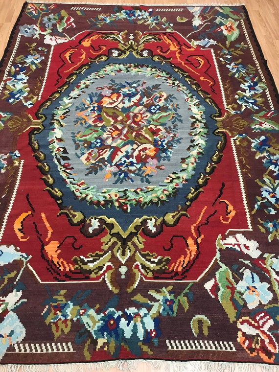 "7'3"" x 10' Antique Turkish Kilim Oriental Rug - 1940s - Hand Made - 100% Wool"