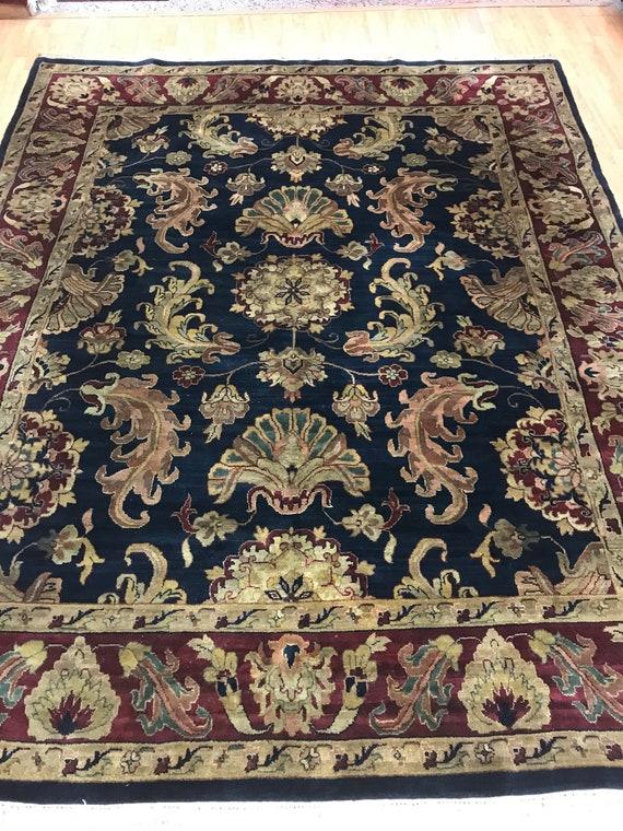 8' x 10' Indian Agra Oriental Rug - Dark Blue - Full Pile - Hand Made - 100% Wool