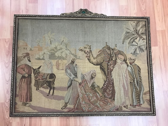 "2'2"" x 3' French Tapestry With Vintage Frame - 1950s"