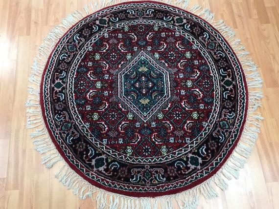 3' x 3' New Round Indian Bijar Oriental Rug - Hand Made - 100% Wool