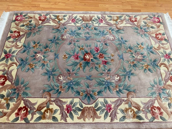 """4'1"""" x 6' Chinese Aubusson Oriental Rug - Full Pile - Hand Made - 100% Wool"""