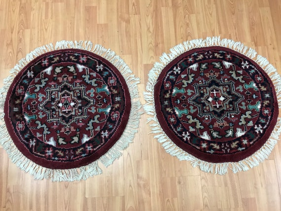 "2'1"" x 2'1"" Set of 2 New Indian Heriz Design Oriental Rug - Hand Made - 100% Wool"