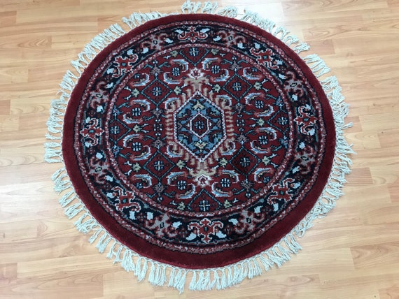 3' x 3' New Round Indian Heriz Design Oriental Rug - Hand Made - 100% Wool