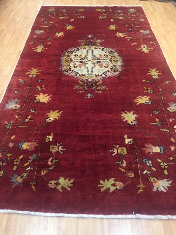 "5'8"" x 10'10"" Antique Chinese French Design Oriental Rug - 1920s - Hand Made"