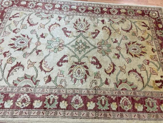 4' x 6' Pakistani Peshawar Oriental Rug - Hand Made - 100% Wool - Vegetable Dye