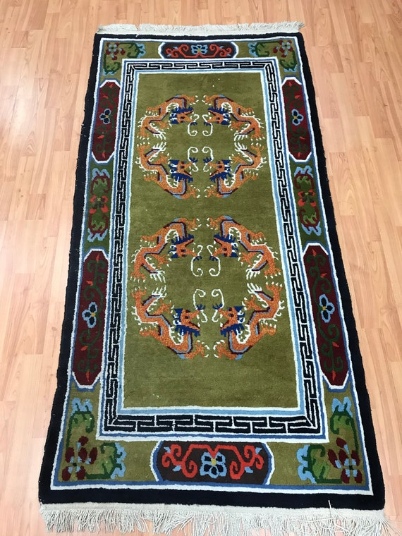 3' x 6' Chinese Art Deco Oriental Rug - Dragon Design - 1980s - Hand Made - 100% Wool