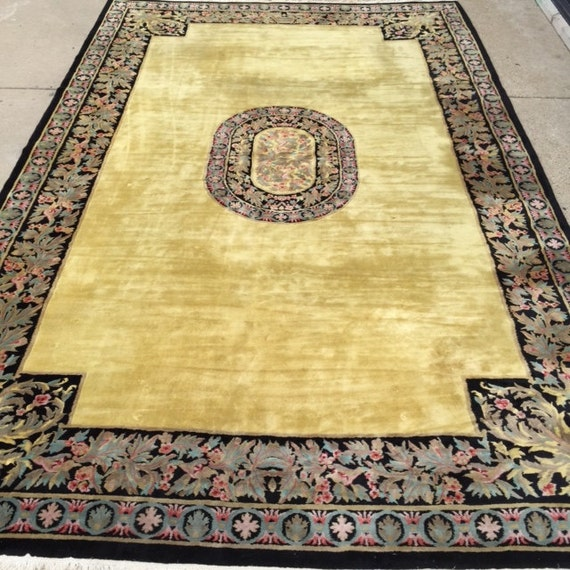 """11' x 17'6"""" Chinese Aubusson Palace Size Oriental Rug - 1980s - Hand Made - 100% Wool - Vintage - Full Pile"""
