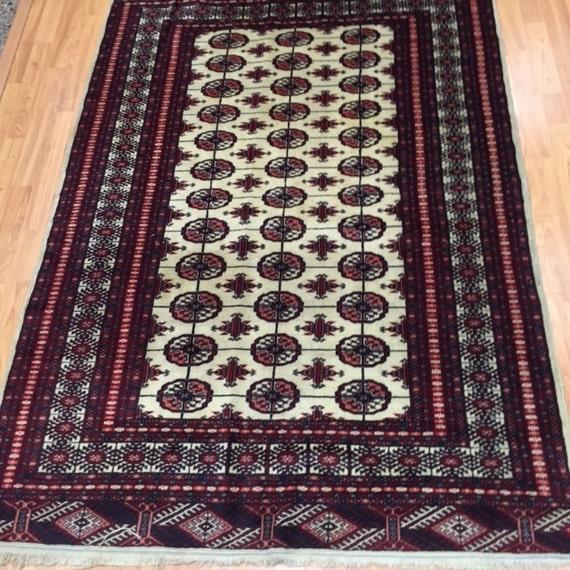 "4' x 5'8"" Pakistani Bokhara Oriental Rug - Hand Made - 100% Wool"