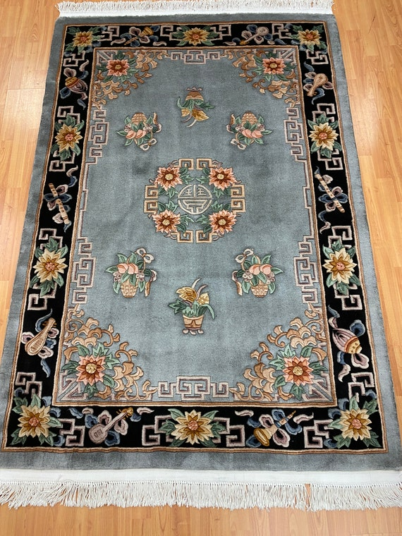 """4'6"""" x 6'8"""" Chinese Aubusson Oriental Rug - Full Pile - Hand Made - 100% Wool"""