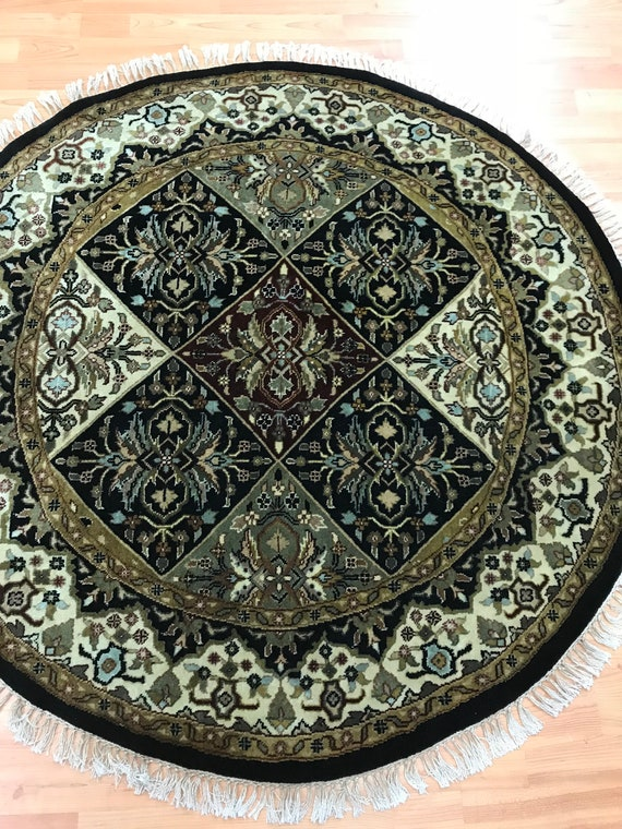 4' x 4' Round Indian Panel Design Oriental Rug - Hand Made - 100% Wool