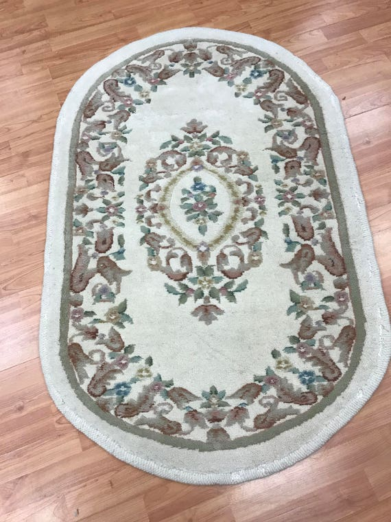"""2'10"""" x 4'6"""" Oval Chinese Aubusson Oriental Rug - Hand Made - 100% Wool"""