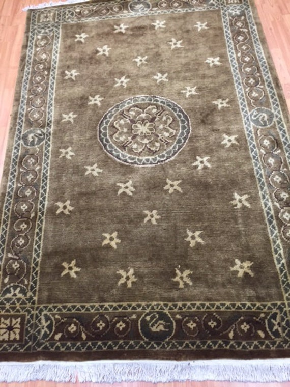 "5' x 7'2"" Indian Nepal (Nepalese) Oriental Rug - Modern - Hand Made - 100% Wool"
