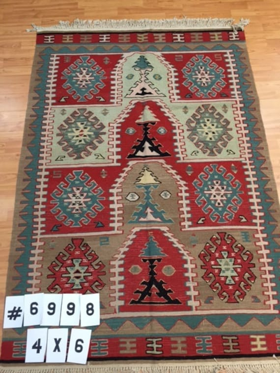 4' x 6' Turkish Kilim (Kelim) Two-Sided Oriental Rug - Hand Made - 100% Wool