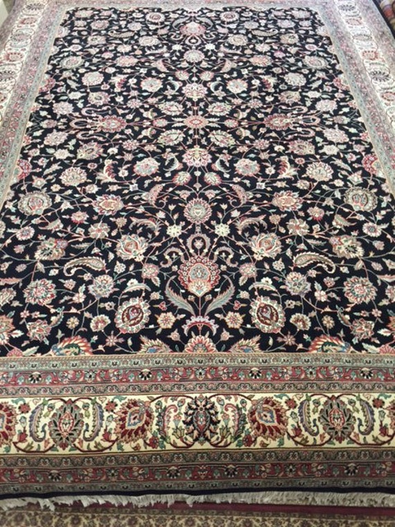 "9'1"" x 12'6"" Sino Chinese Kashan Design Oriental Rug - Wool & Silk - Hand Made - Very Fine"