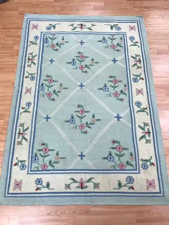 "4' x 5'9"" Indian Kilim Oriental Rug - Flat Weave - Hand Made - 100% Wool"