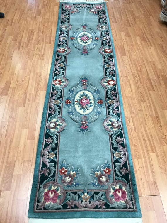 "2'6"" x 10' Chinese Aubusson Floor Runner Oriental Rug - Hand Made - 100% Wool"