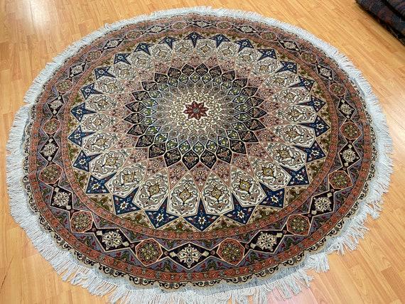 """6'9"""" x 6'9"""" Round Turkish Oriental Rug - Over 500 KPSI - Wool & Silk - Hand Made"""