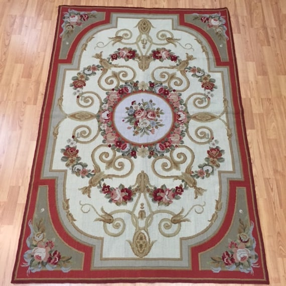 4' x 6' Chinese Aubusson Needle Point Oriental Rug - Hand Made - 100% Wool