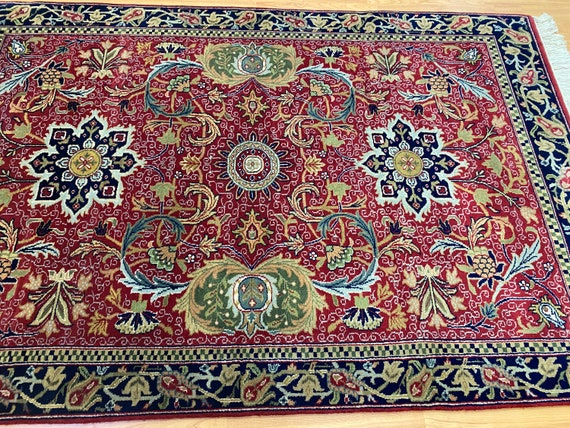 4' x 6' New Indian Floral Oriental Rug - Fine - Hand Made - 100% Wool
