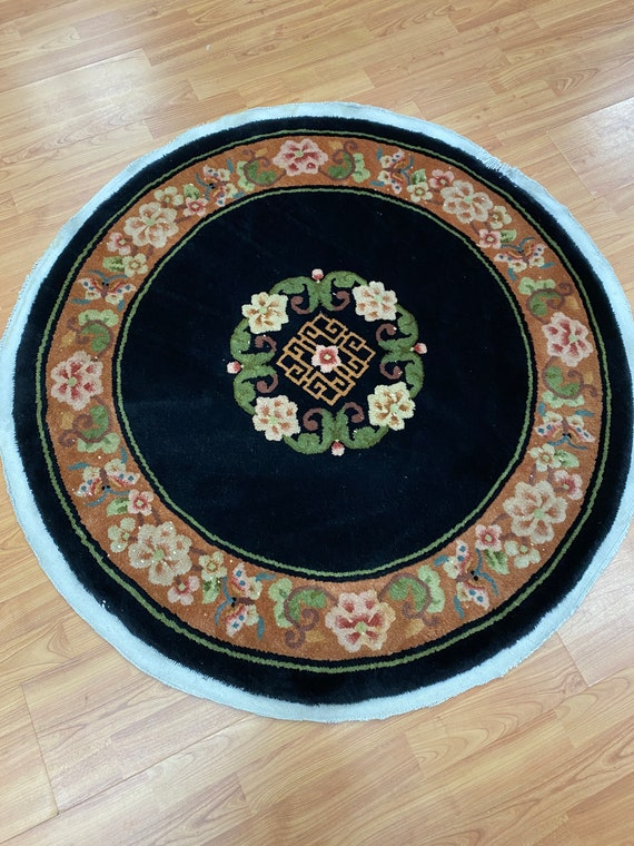"3'9"" x 3'9"" Round Chinese Aubusson Oriental Rug - Hand Made - 100% Wool"