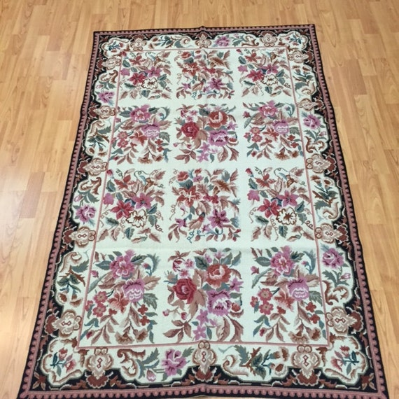 "3'6"" x 5'6"" Chinese Needle Point Oriental Rug - Hand Made - 100% Wool"