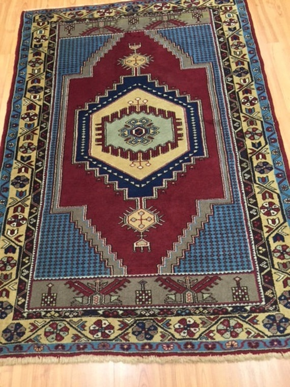 "3'10"" x 5'7"" Turkish Serapi Oriental Rug - Hand Made - 100% Wool - Semi-Antique"