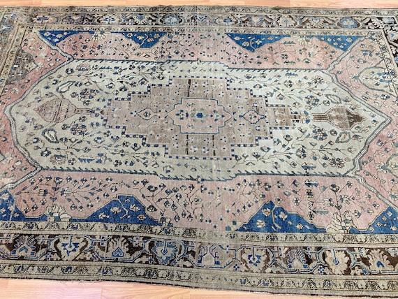 """4'1"""" x 6'6"""" Antique Turkish Oriental Rug - 1880s - Hand Made - 100% Wool"""