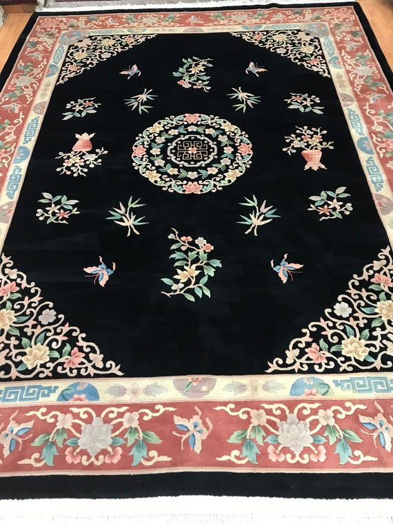 9' x 12' Chinese Art Deco Oriental Rug - Full Pile - Hand Made - 100% Wool