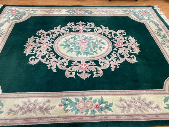 """7'10"""" x 10'4"""" Chinese Aubusson Oriental Rug - Full Pile - Hand Made - 100% Wool"""
