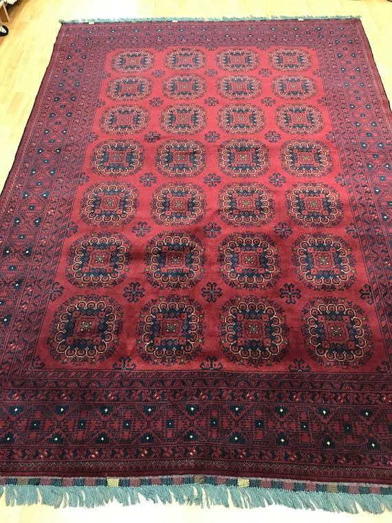 "6'6"" x 9'4"" Afghan Turkeman Khalmohammadi Oriental Rug - Hand Made - 100% Wool"