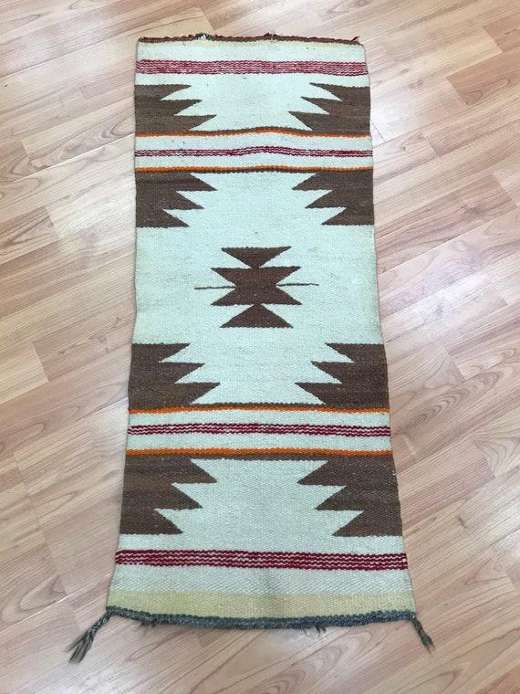 "1'1"" x 3' Native American Navajo Flat Weave Oriental Rug - Kilim - Hand Made - 100% Wool"