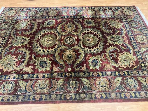 "6'2"" x 9' Indian Agra Oriental Rug - Full Pile - Hand Made - 100% Wool"