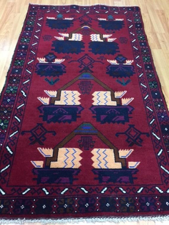 """2'9"""" x 4'9"""" Afghan Serapi Oriental Rug - Hand Made - 100% Wool - Vintage"""
