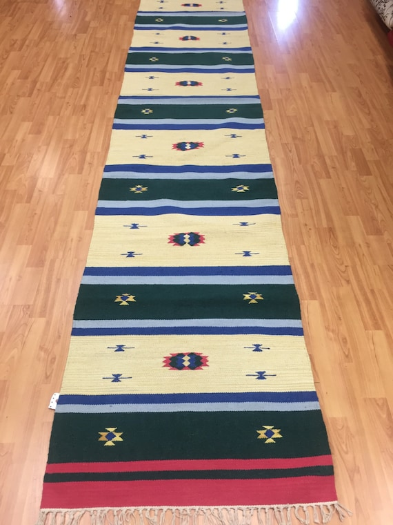 "2'6"" x 12'7"" Native American Navajo Floor Runner Oriental Rug - Hand Made - 100% Wool"
