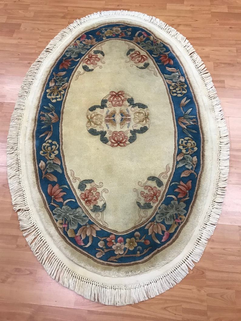 3 1 X 5 1 Oval Chinese Aubusson Oriental Rug Hand Made 100 Wool