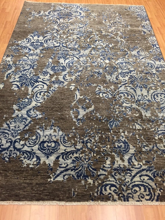 "6' x 9'2"" Soft Melody Indian Oriental Rug - Modern - Hand Made - 100% Wool"