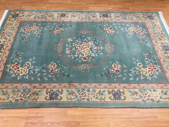 """5'6"""" x 8'10"""" Chinese Aubusson Oriental Rug - Full Pile - Hand Made - 100% Wool"""