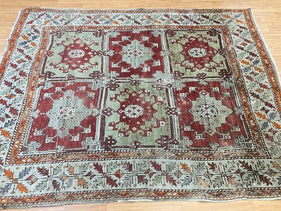 """5'7"""" x 7'3"""" Antique Turkish Kazak Oriental Rug - 1900s - Hand Made - 100% Wool"""