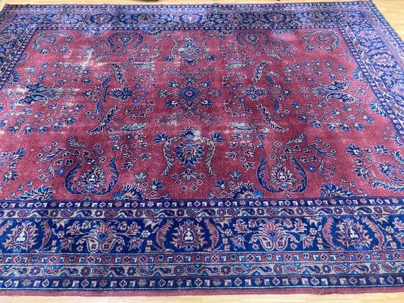 9' x 12' Antique Turkish Sa Rouk Oriental Rug - 1930s - Hand Made - 100% Wool
