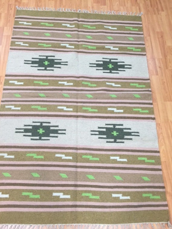 4' x 6' Native American Navajo Flat Weave Oriental Rug - Hand Made - 100% Wool