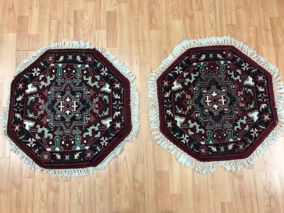 2' x 2' Set of 2 New Indian Heriz Design Oriental Rug - Hand Made - 100% Wool