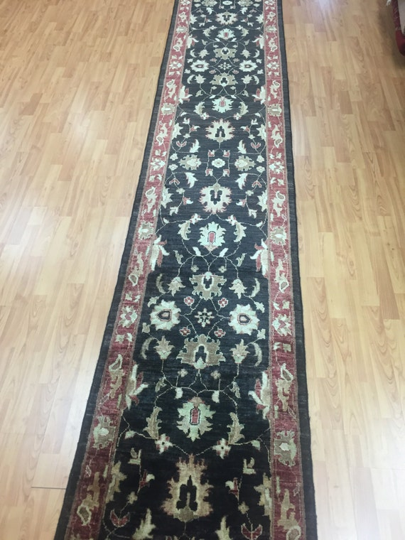 "2'4"" x 16'6"" Pakistani Peshawar Floor Runner Oriental Rug - Agra Design - Hand Made - Vegetable Dye - 100% Wool"