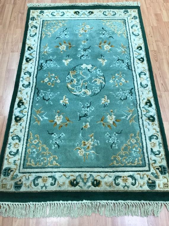 "3'7"" x 5'7"" Chinese Art Deco Oriental Rug - Full Pile - Hand Made - 100% Wool"