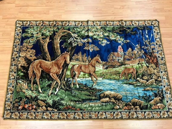 """4'1"""" x 6'2"""" Turkish Tapestry - Hanging Rug - 1980s - Hand Made - 100% Wool"""
