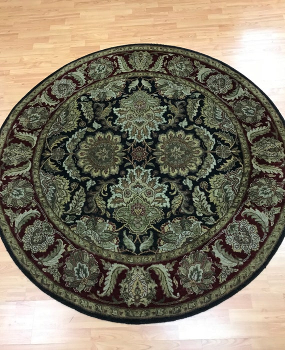 "6'1"" x 6'1"" Round Indian Agra Oriental Rug - Hand Made - 100% Wool"