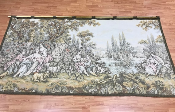 "4'2"" x 8'2"" French Hanging Tapestry - 1970s - Perfect Condition - Hand Made"